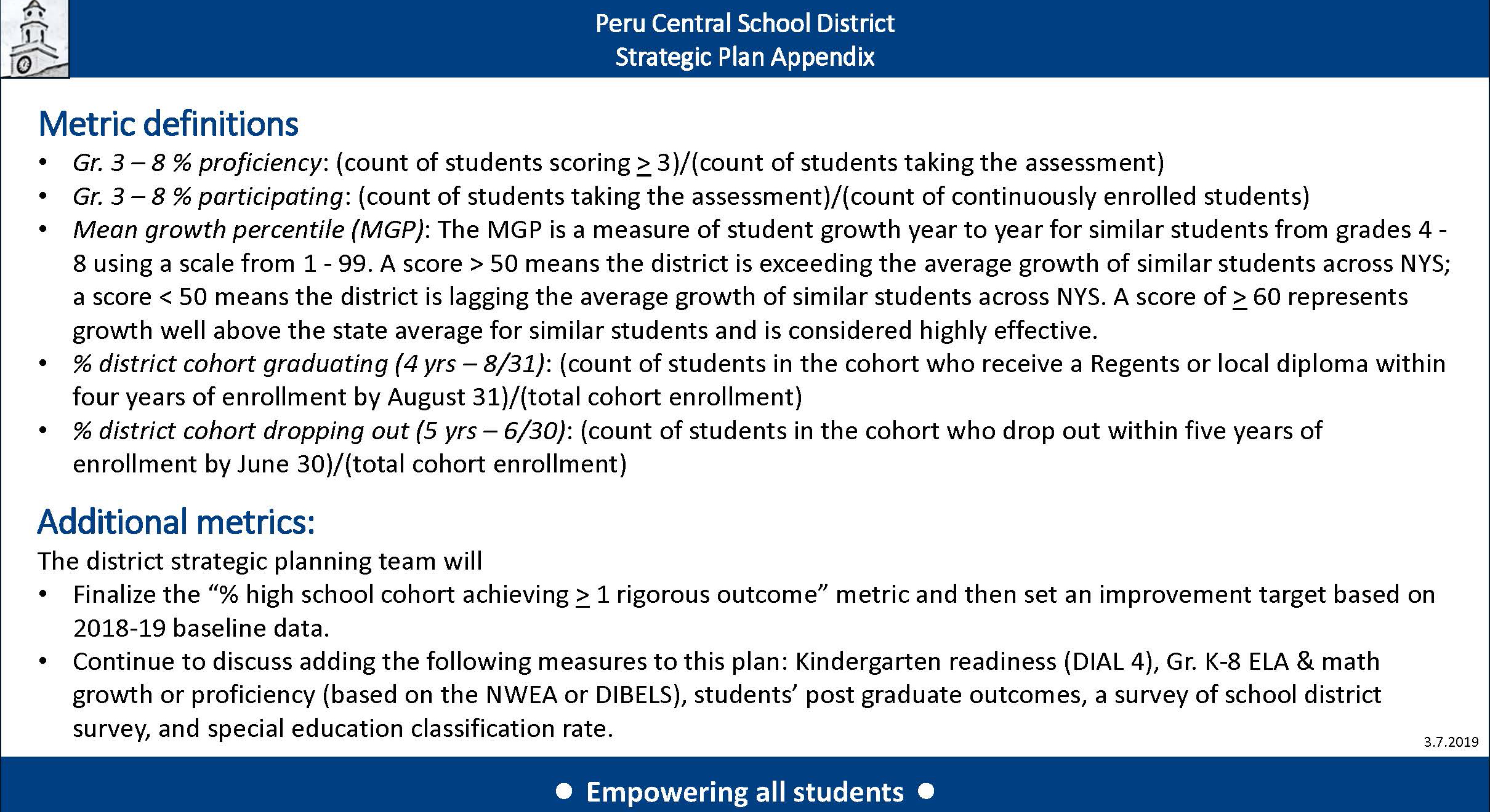 2019 –2022 Peru Central School District Strategic Plan